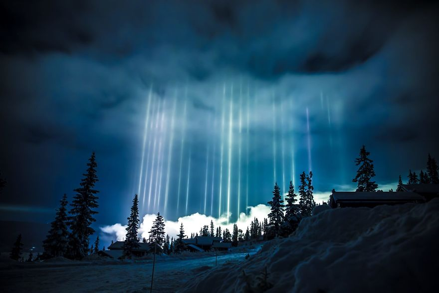 Light Pillars In Northern Ontario